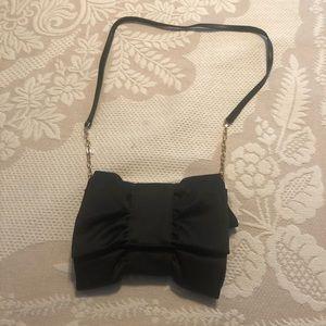 Girls Black satin bow clutch